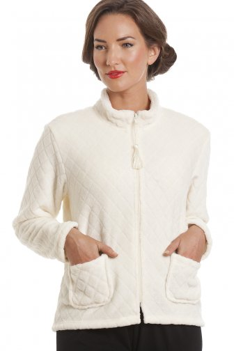 Ivory Supersoft Zip Up Bed Jacket
