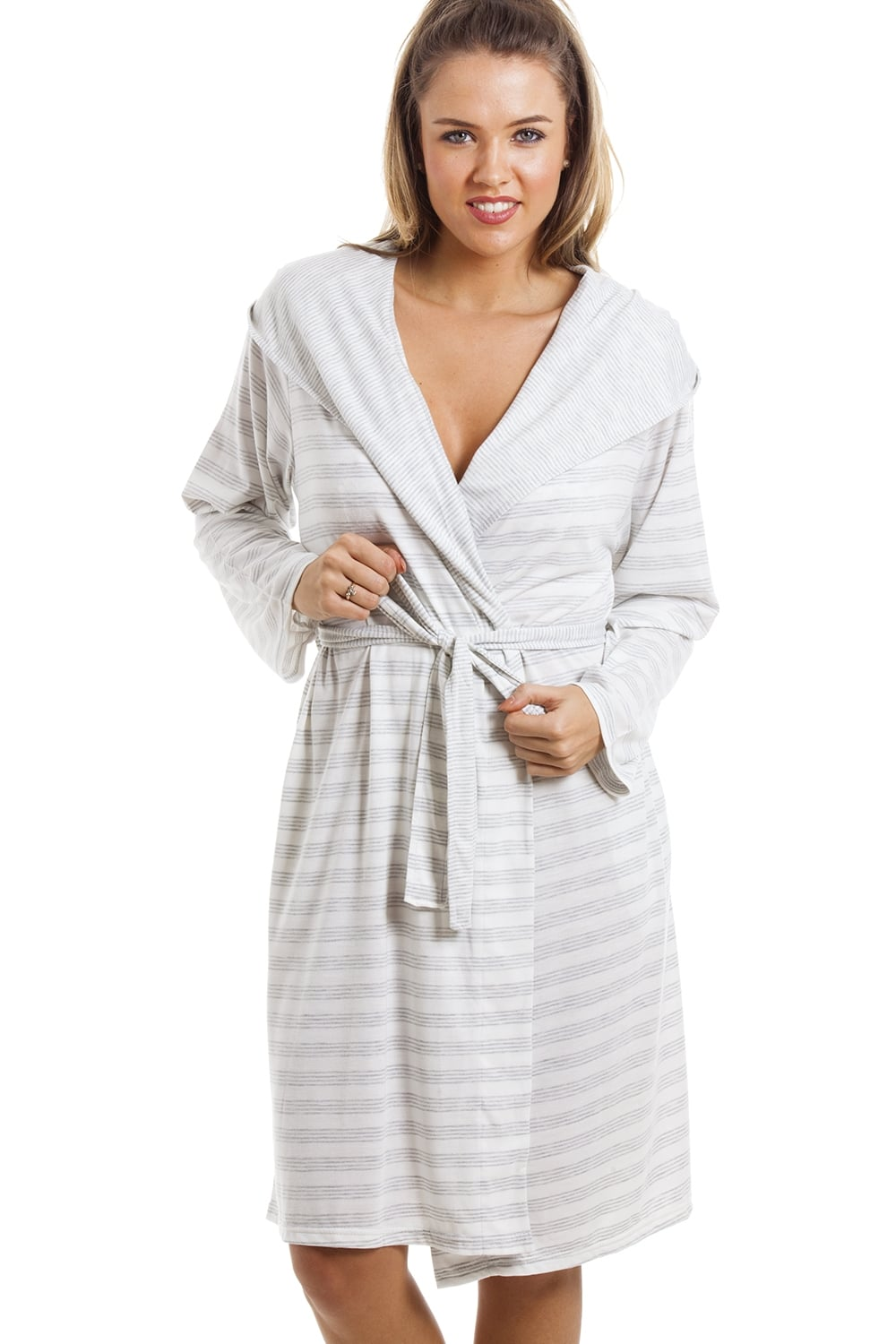 Knee Length Long Sleeve Hooded Grey And White Striped Dressing Gown