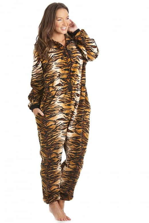 Camille Ladies Luxury Gold And Brown Tiger Print Hooded All In One Onesie Pyjama