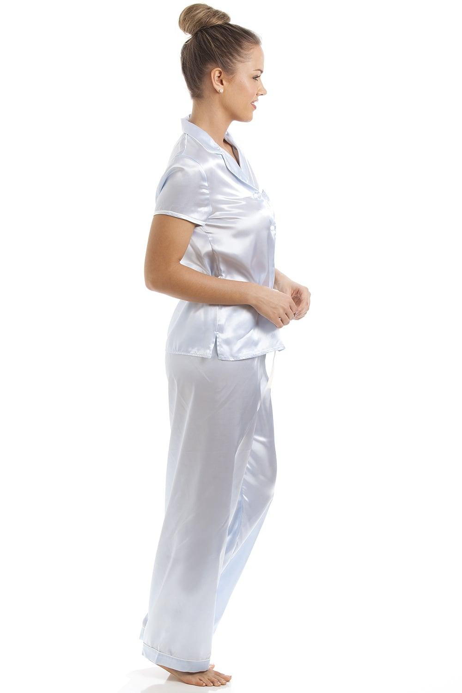 cc0741c3b5c8 Camille Light Blue Short Sleeve Belted Satin Pyjama Set