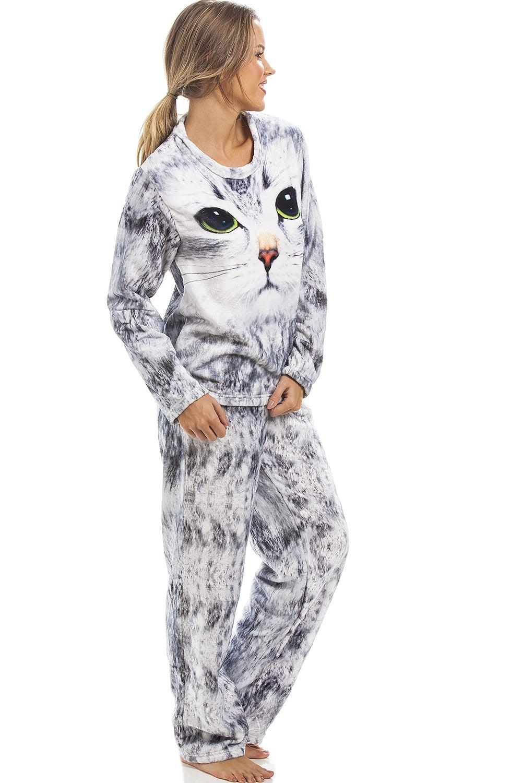 Camille Light Grey Womens Stunning Cat Pyjama cba45a0e9