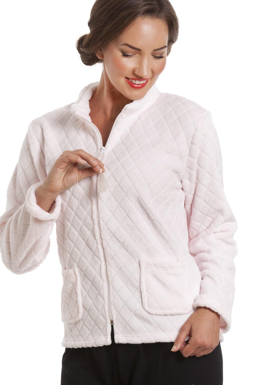 Camille Womens Loungewear Nightwear Pink Supersoft Fleece Button Up Bed Jacket
