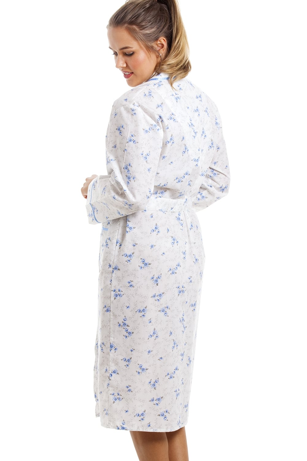 Lightweight Knee Length Long Sleeve Blue And White Floral Dressing Gown