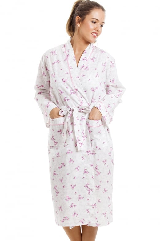Camille Lightweight Knee Length Long Sleeve Pink And White Floral Dressing Gown