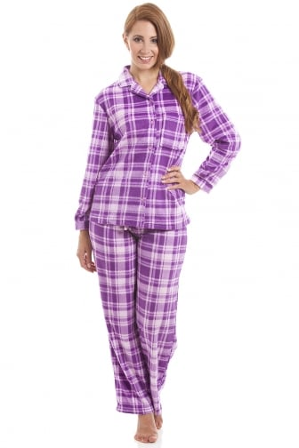 Lilac And Pink Checkered Full Length Button Front Wincy Pyjama Set