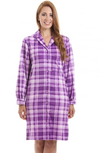 Lilac Checkered Long Sleeve Button Front Wincy Nightshirt