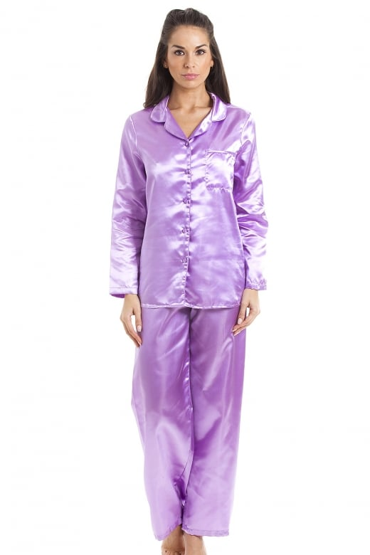 Camille Lilac Satin Full Length Pyjama Set
