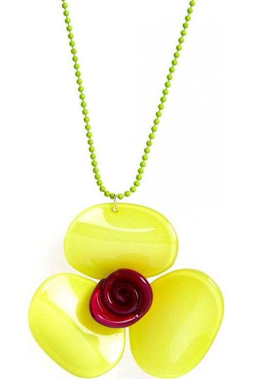 Camille Lime Green And Pink Flower Necklace