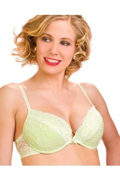 Camille Lime Green Padded Plunge Push Up Lace Bra
