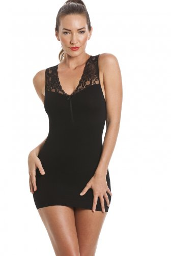 Long Black Lace Shapewear Support Vest Top