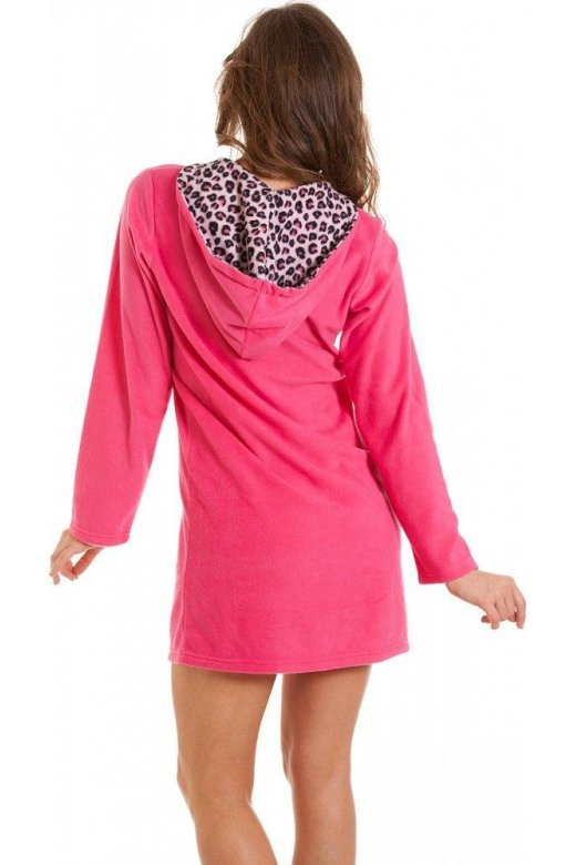 ad4b263055aa Camille Long Sleeve Pink Fleece Hooded Leopard Print Nightdress