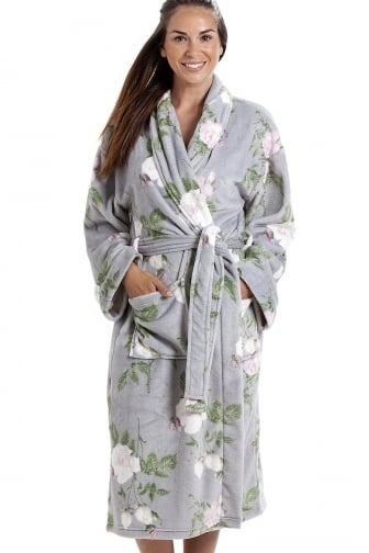 Luxurious Grey Super Soft Fleece Light Pink Rose Print Bathrobe