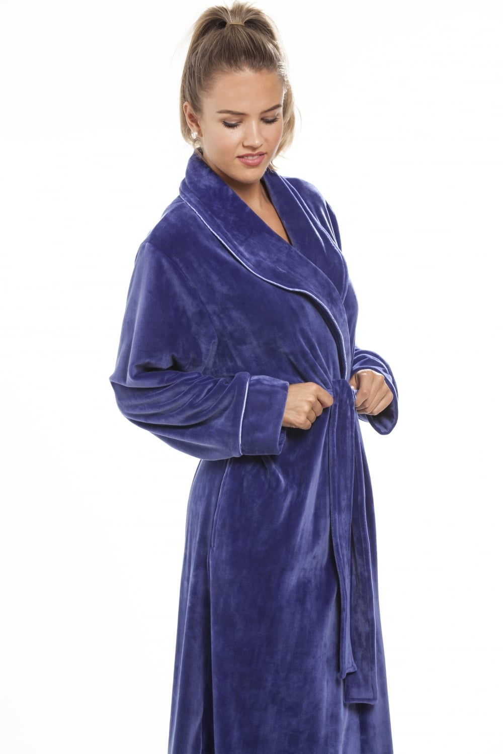 Luxurious Heavy Weight Soft Purple Velour Dressing Gown