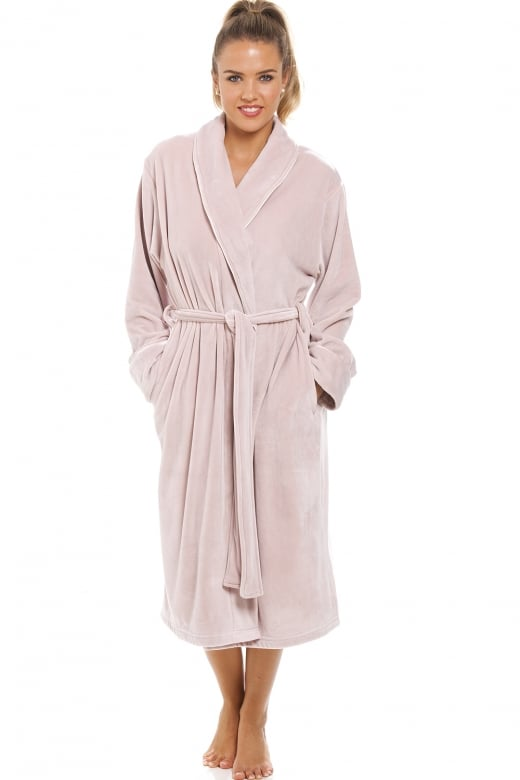 Camille Luxurious Heavy Weight Soft Taupe Velour Dressing Gown
