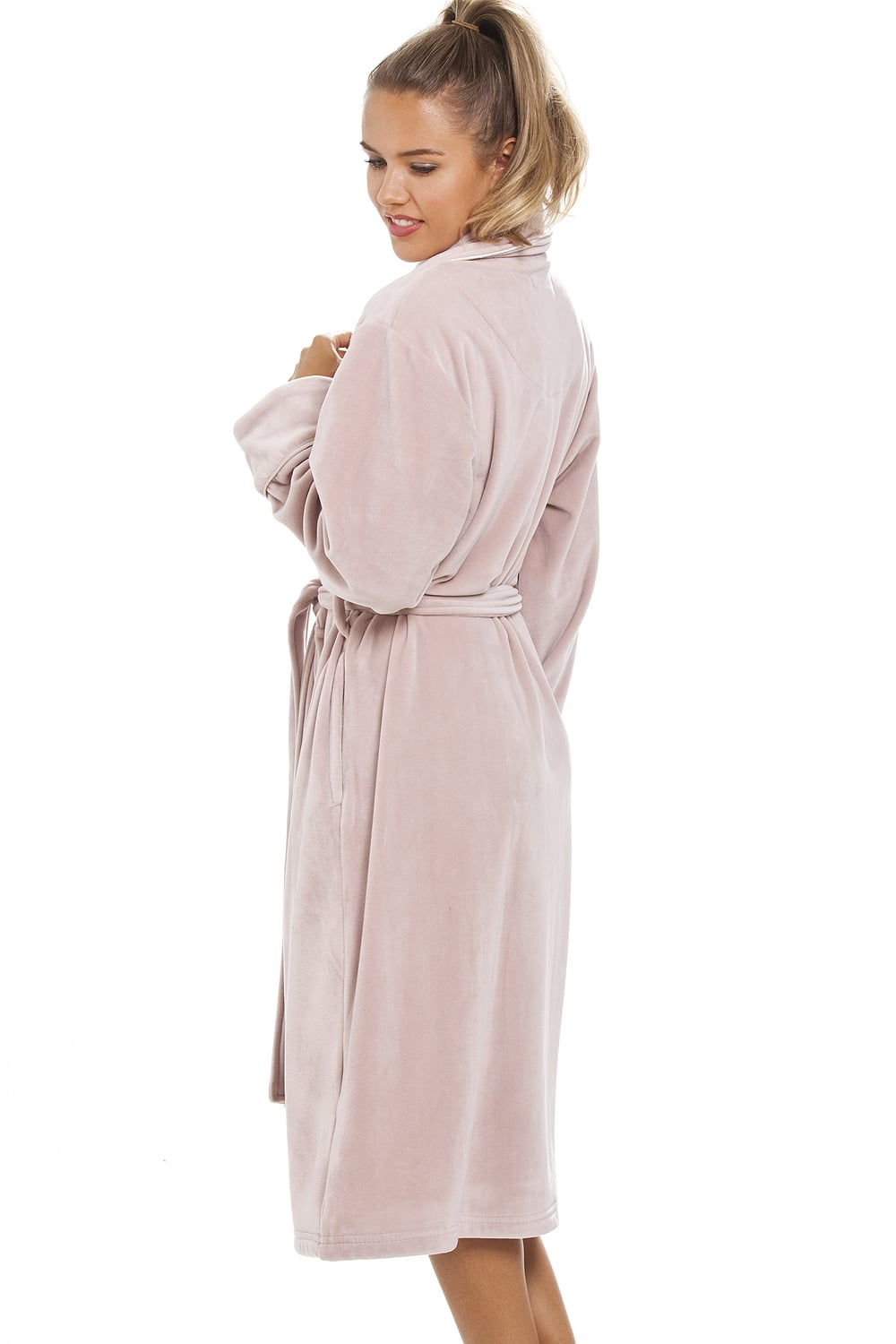Luxurious Heavy Weight Soft Taupe Velour Dressing Gown
