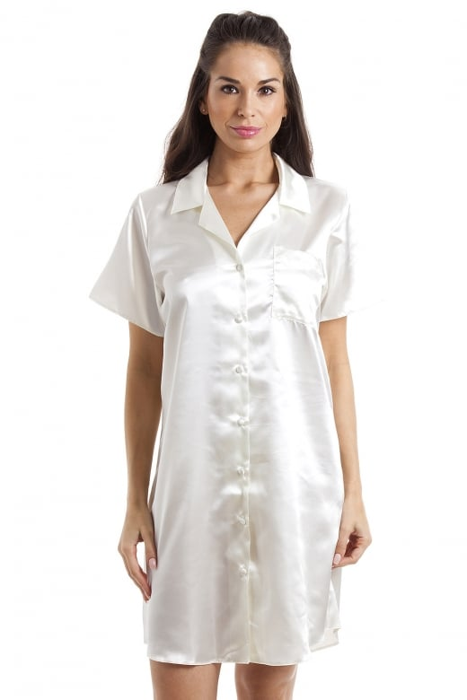 Camille Luxurious Knee Length Cream Satin Nightshirt