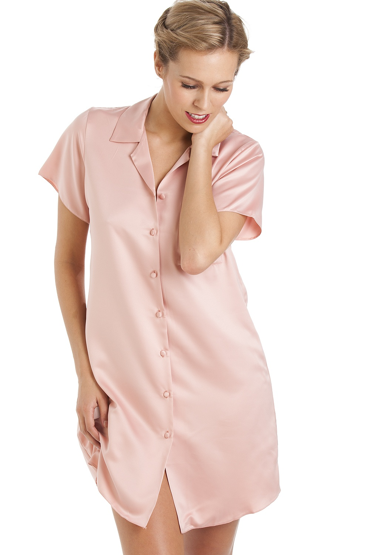 Camille Luxurious Knee Length Pink Satin Nightshirt 8c10318fd