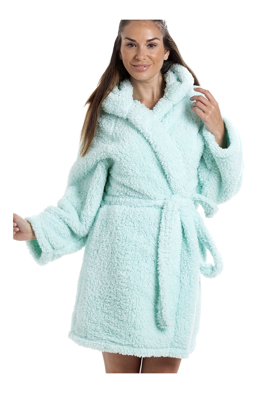 Luxurious Lightweight Soft Fluffy Fleece Mint Hooded Dressing gown