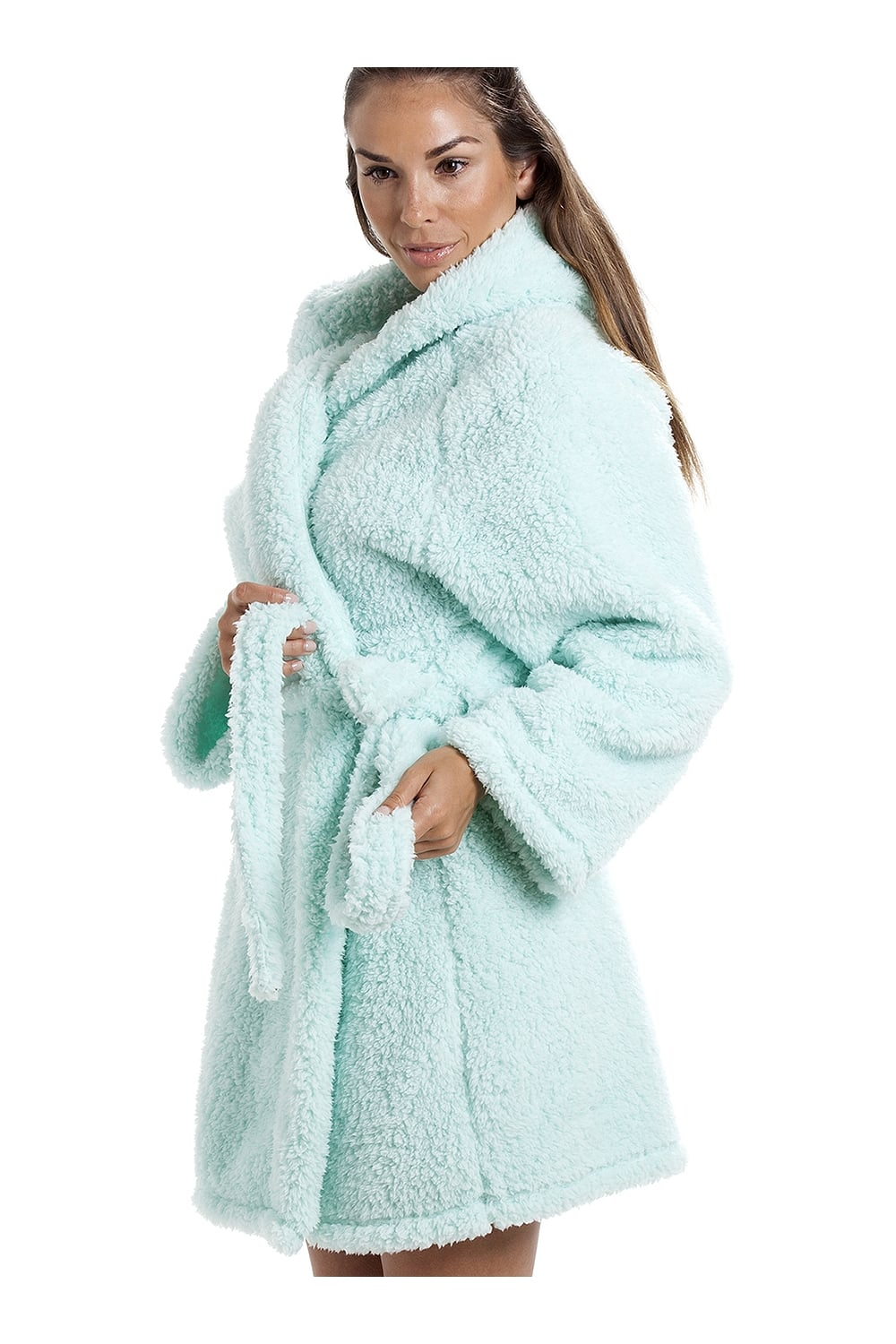 Camille Luxurious Lightweight Soft Fluffy Fleece Mint Hooded Dressing Gown 2fcf130168f9