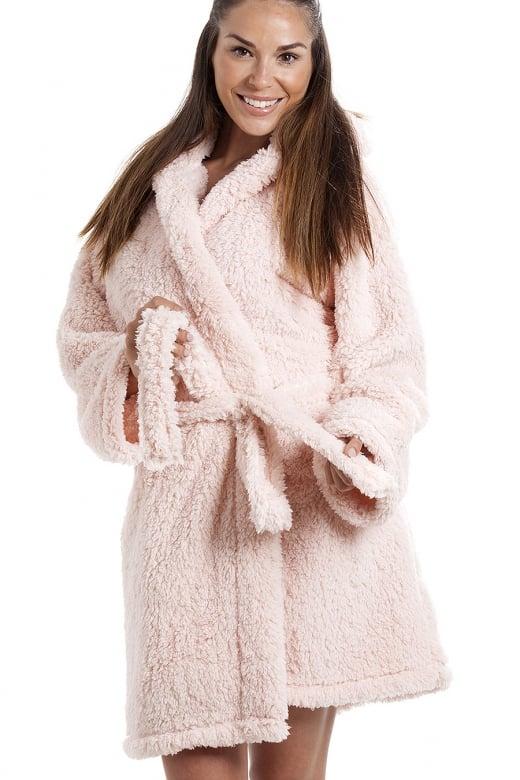 Camille Luxurious Lightweight Soft Fluffy Fleece Pink Hooded Dressing Gown