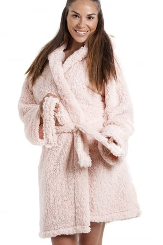 Luxurious Lightweight Soft Fluffy Fleece Pink Hooded Dressing Gown