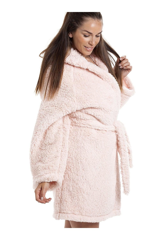 Camille Luxurious Lightweight Soft Fluffy Fleece Pink Hooded Dressing Gown 2b8455641
