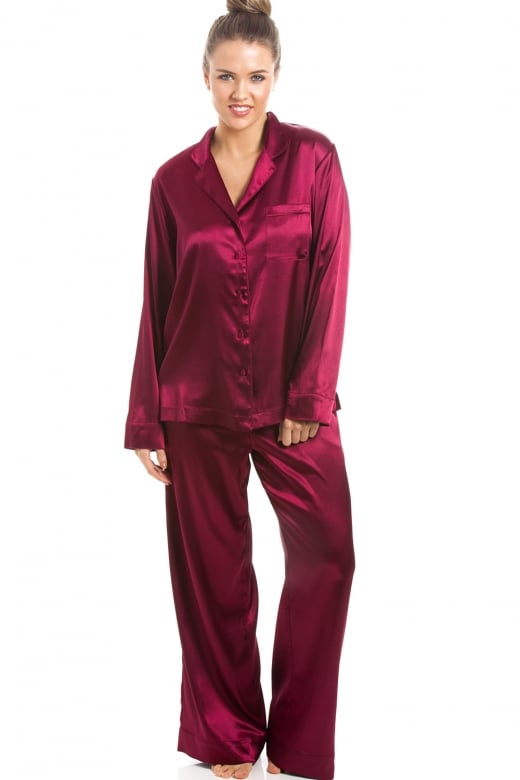 Camille Luxurious Ruby Red Full Length Satin Pyjama Set