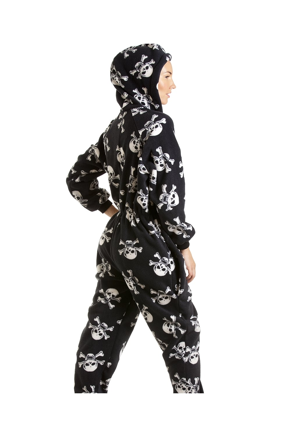 Womens Ladies Luxury All In One Black And White Skull Print Hooded ...