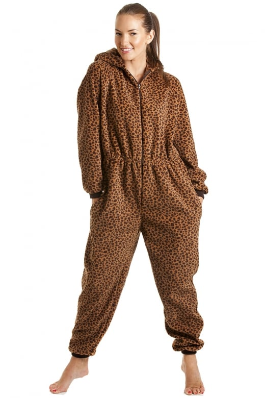 Camille Luxury All In One Caramel Leopard Hooded Fleece Onesie