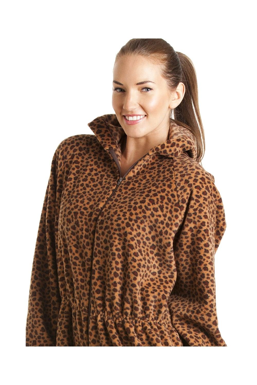 be6e3182e Camille Mens Luxury Caramel Brown Leopard Print Soft Fleece Hooded ...