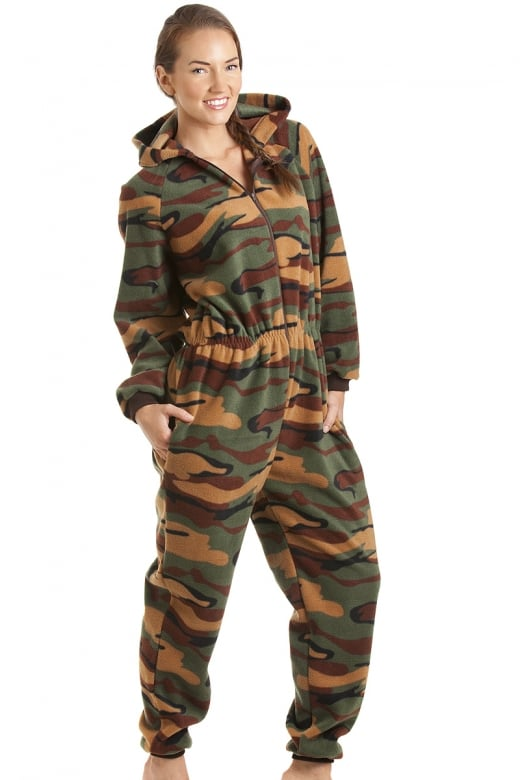 Camille Luxury All In One Green Camouflage Print Hooded Fleece Onesie