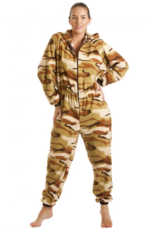 Camille Luxury All In One Sand Desert Print Hooded Fleece Onesie