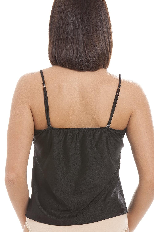 f9d1f45949711d Camille Womens Lingerie Luxury Black Camisole Lace Trim Top ...