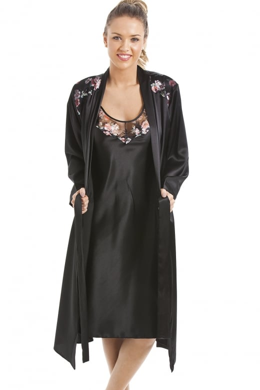 Camille Luxury Black Floral Satin Chemise And Wrap Set