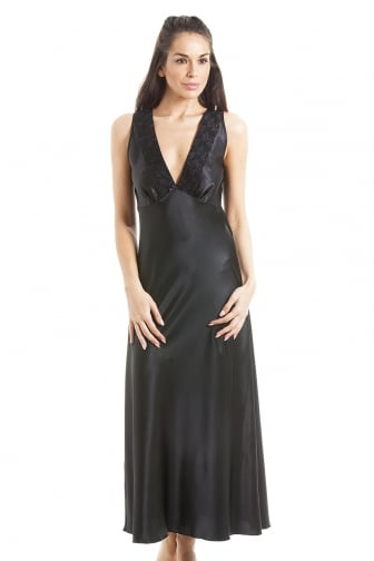 Luxury Black Lace Satin Chemise