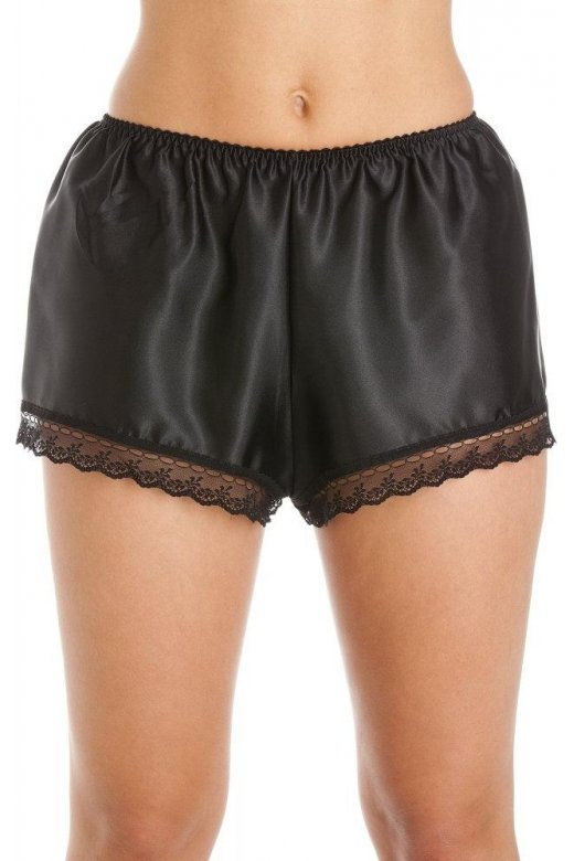 Camille Luxury Black Satin French Knicker Shorts
