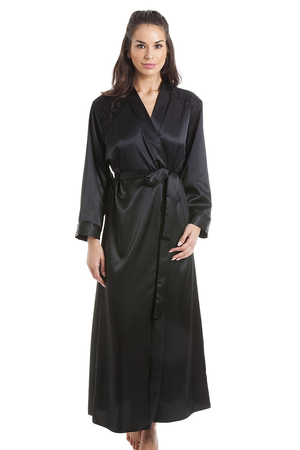 Luxury Black Satin Dressing Gown Wrap b7100eb6127f