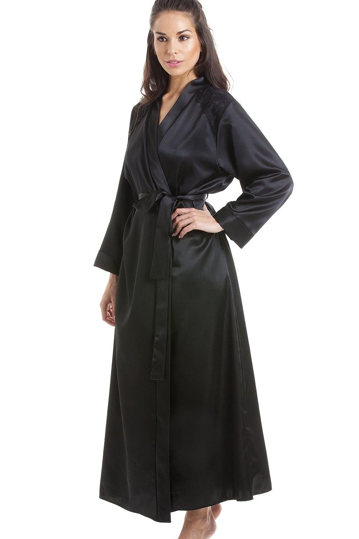 Luxury Black Satin Dressing Gown Wrap