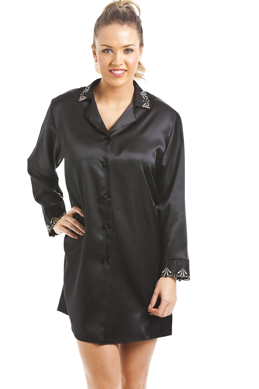 Luxury Black Satin Nightshirt