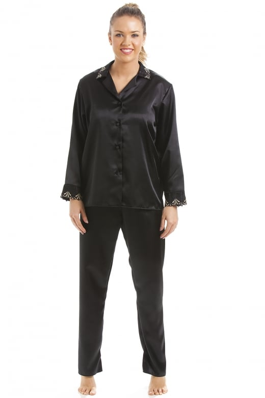 Camille Luxury Black Satin Pyjama Set