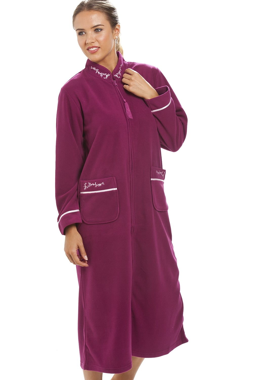 Camille Luxury Burgundy Zip Up Housecoat Bath Robe 4efddb149d04