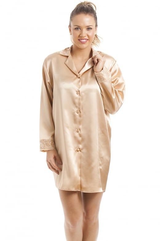 Camille Luxury Gold Satin Nightshirt