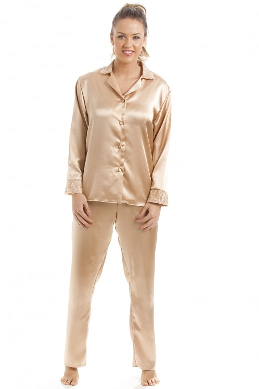 Camille Luxury Gold Satin Pyjama Set