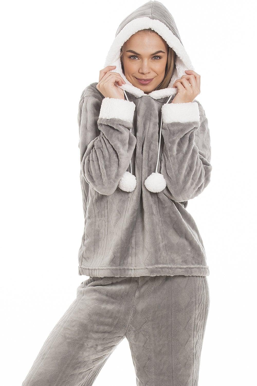 32ef43ea6ef3 Womens Ladies Luxury SuperSoft Fleece Hooded Grey Pyjama Set Size 10-20