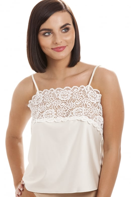 Camille Luxury Ivory Camisole Lace Trim Top