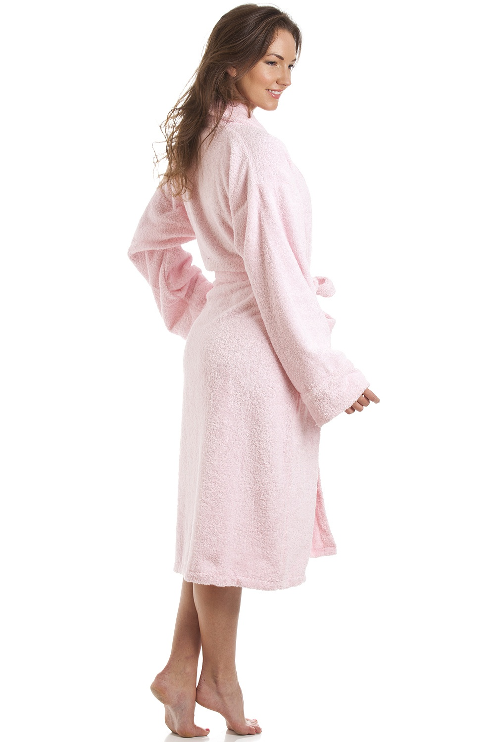 Camille Luxury Light Pink 100% Cotton Towelling Bath Robe 169d37242