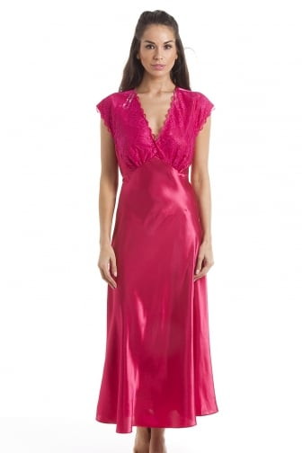 Luxury Long Fuchsia Pink Lace Satin Chemise