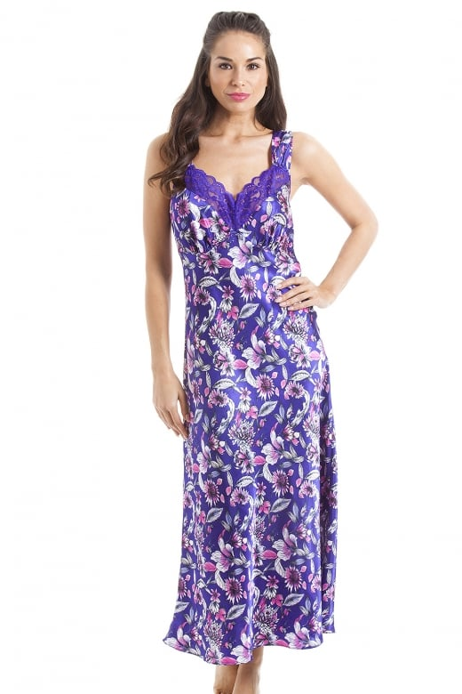 Camille Luxury Long Pink Floral Print Purple Lace Satin Chemise