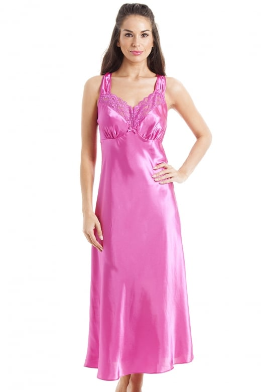 Camille Luxury Long Pink Lace Satin Chemise