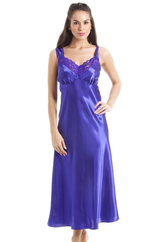 Luxury long purple lace satin chemise satin dress long